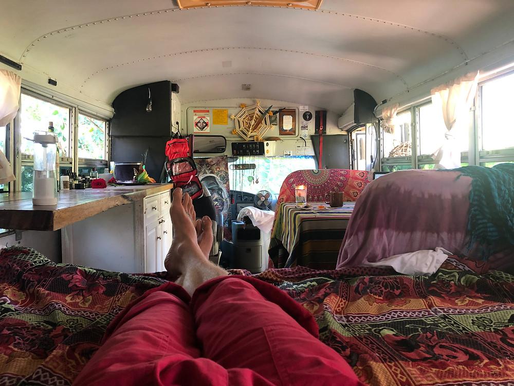 Inside John Early's Jungle Bus at El Pital, Isla Ometepe Nicaragua Bus Life