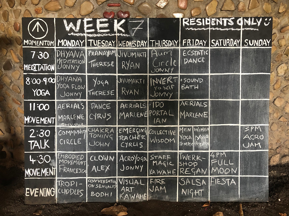 Circus Island Artist Residency Schedule at El Pital Isla Ometepe Nicaragua - Photo by Therese Lowton