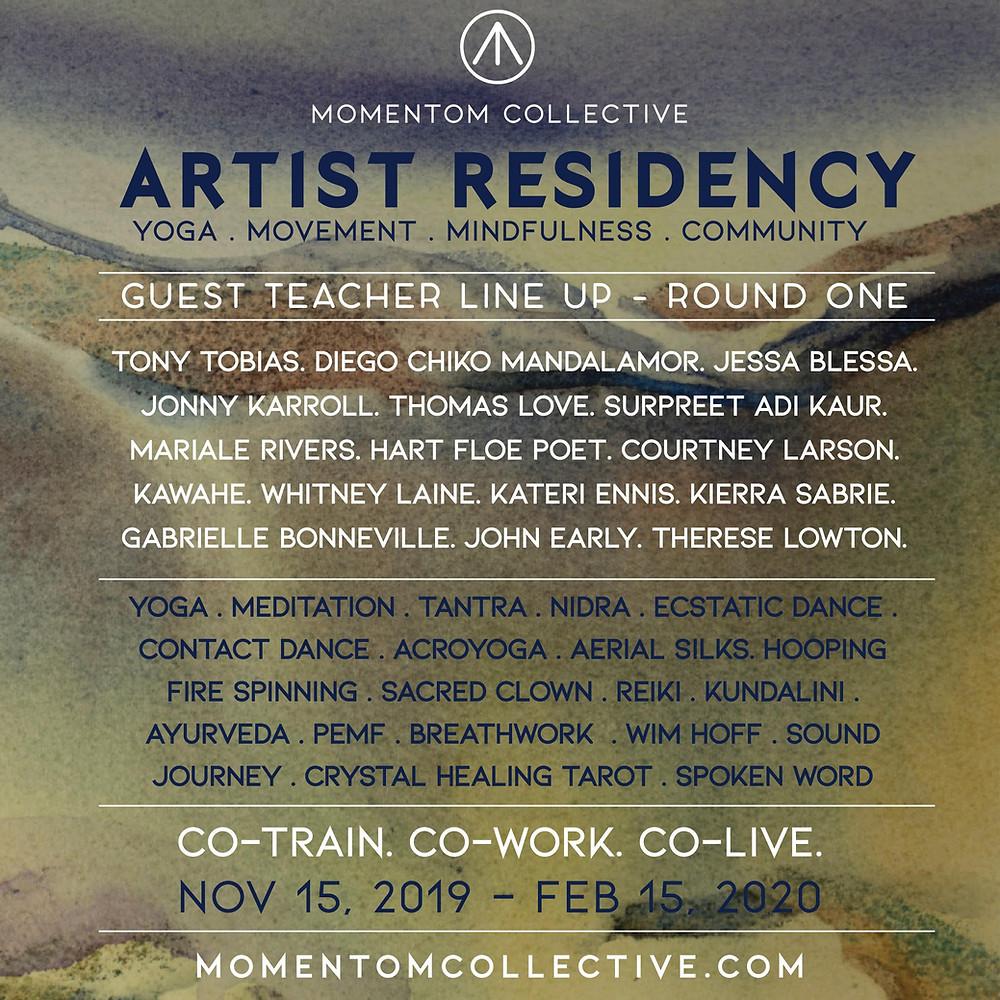 Momentom Collective Artist Residency Guatemala Guest Teacher Lineup 2019 2020 Posada Schuman San Marcos Lake Atitlan Yoga Retreat