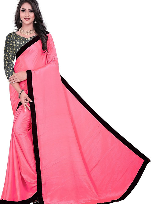 new collection, new arrival, light pink saree, plain saree, silver blouse, casual saree, plain blouse, lace work, under500