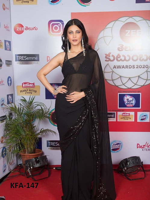 Shruti Haasan Black Saree, Georgette Saree, Black Saree, Latest Saree, New Saree