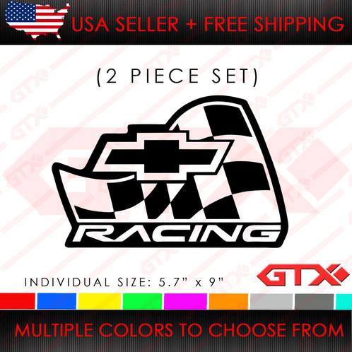 (2pcs) Chevrolet Chevy Camaro Truck Racing Bowtie Flag Racing GM STICKER  DECAL