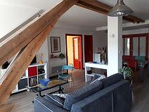 Les Gites du 74R à Senones Vosges, vue de l'appartement du second étage, le Vintage