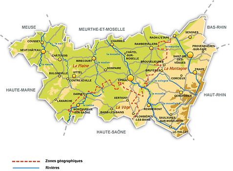 Le département et les principales villes des Vosges