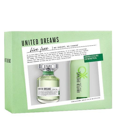 BENETTON UNITED DREAMS LIVE FREE SET WOMAN (EDT 2.7 + DEO 5.1)