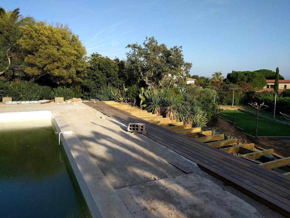 Travaux en cours, extension terrasse bois