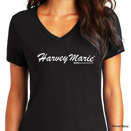 Women's Essential Harvey Marie Logo V-Neck T-Shirt (BLK)