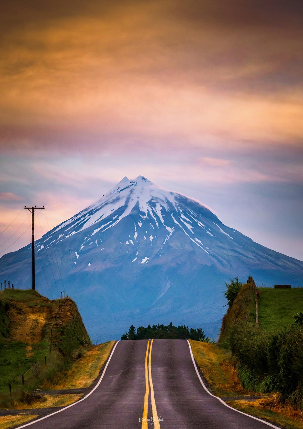 Mt Taranaki road shot at Sunset