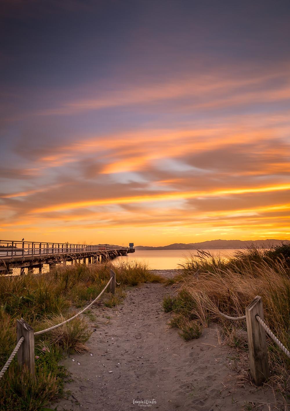 Petone beach sunset in Wellington