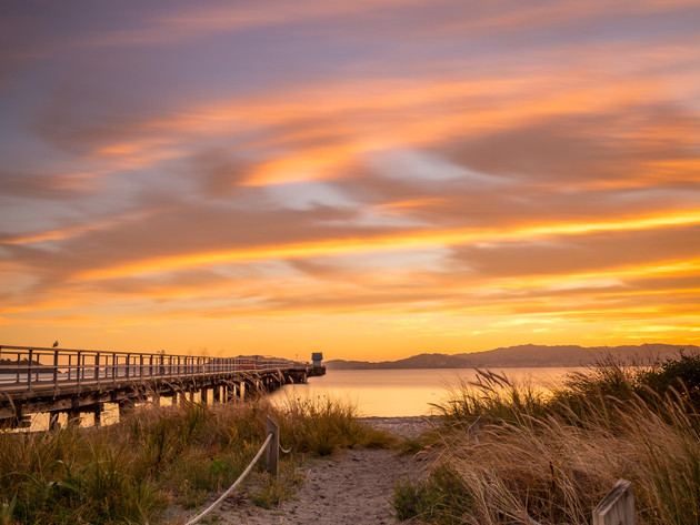 Petone Wharf and Beach at Sunset