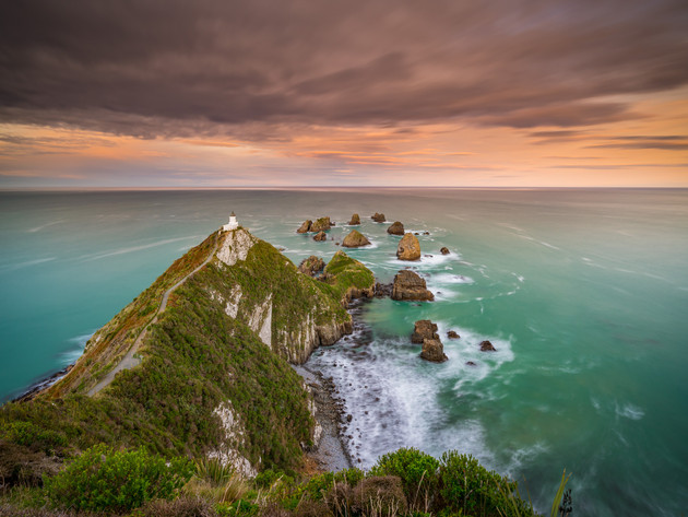 Sunset at Nugget Point Lighthouse Southland