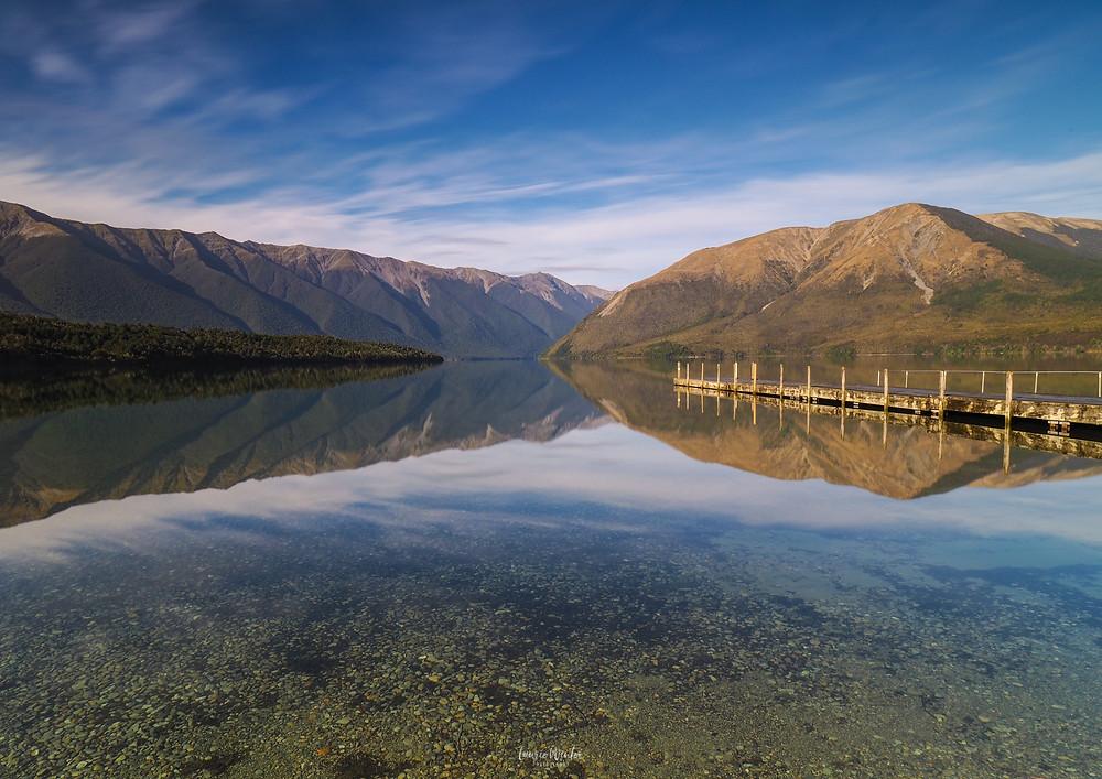 Lake Rotoiti reflections, Nelson, jetty, blue sky