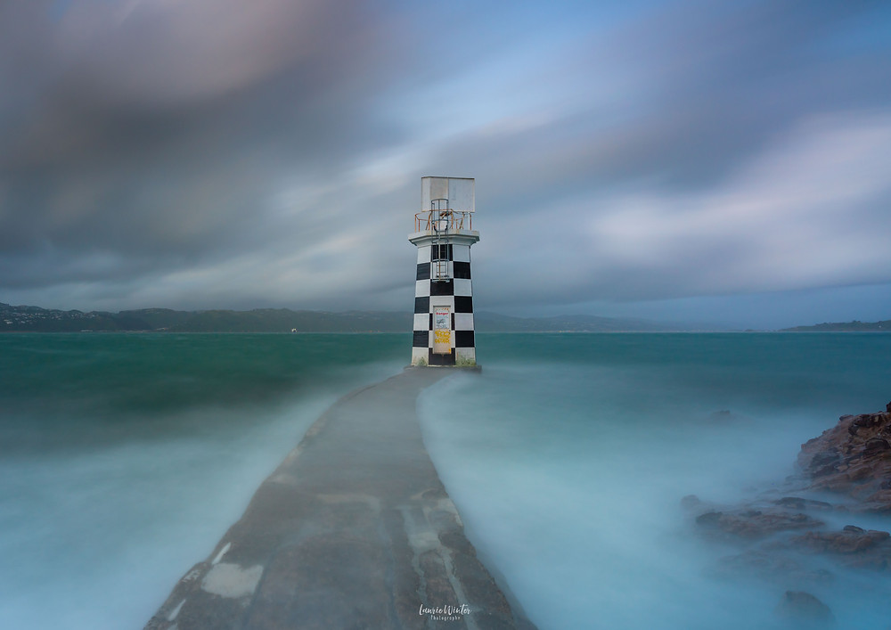 Pt Hallswell Lighthouse with cloudy skies long exposure