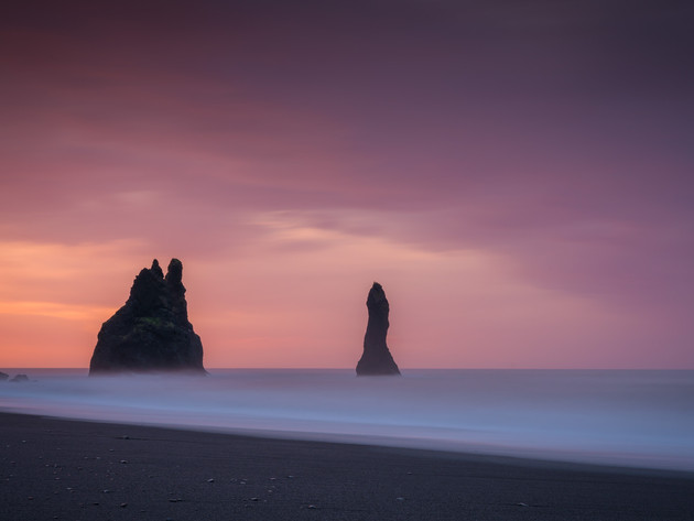 Sunrise at Reynisfjara Black Sand Beach Iceland