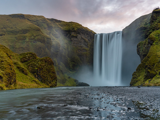 Skógafoss and Skóga River in Iceland