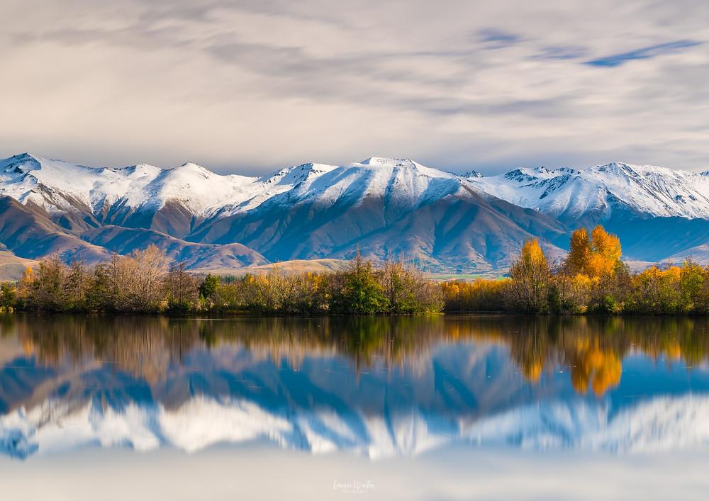 Ohau Range snow reflections Twizel New Zealand