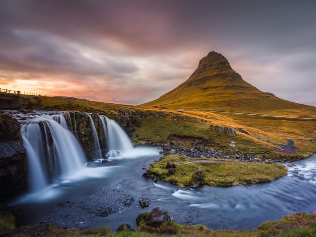 Kirkjufell Mountain and Kirkjufellsfoss Iceland