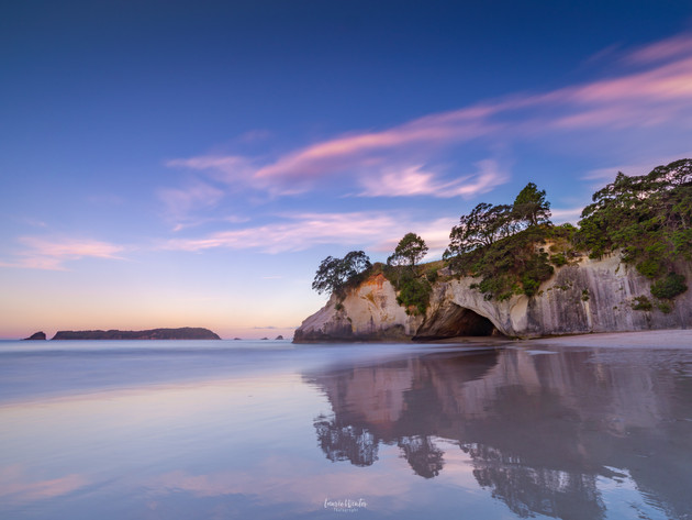 Pink Sunset Skies at Cathedral Cove