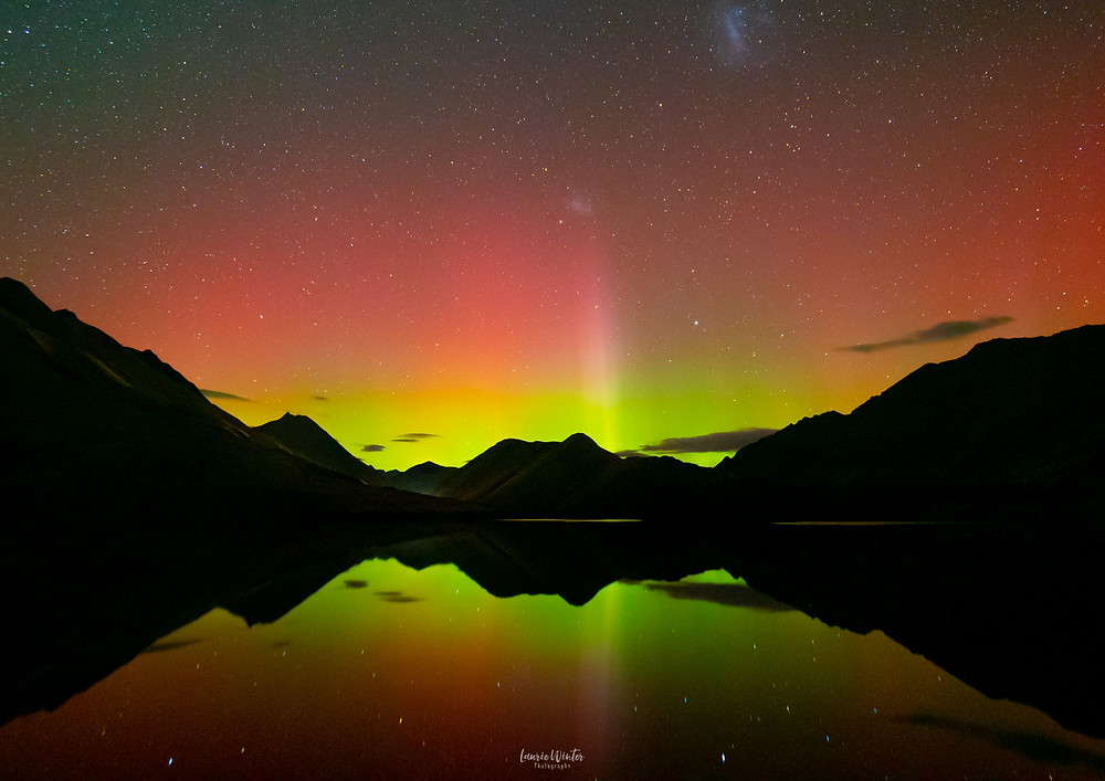 Beautiful Aurora Australis at Moke Lake Queenstown