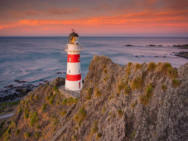 Pink Skies Behind Cape Palliser Lighthouse