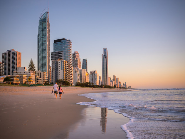 Sunrise at Surfers Paradise in Australia