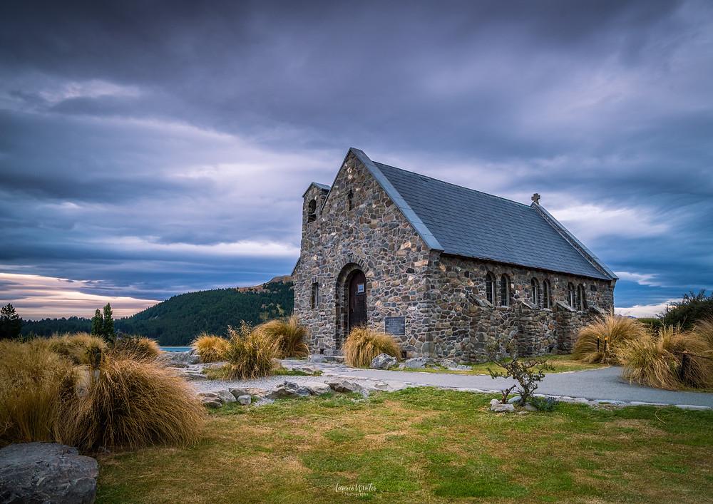 Sunset Church of the Good Shepherd in Tekapo New Zealand