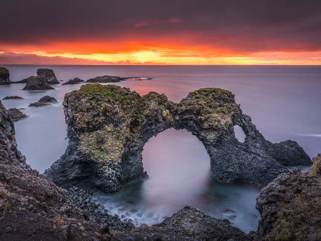 Sunrise at Gatklettur Arch in Arnarstapi, Iceland