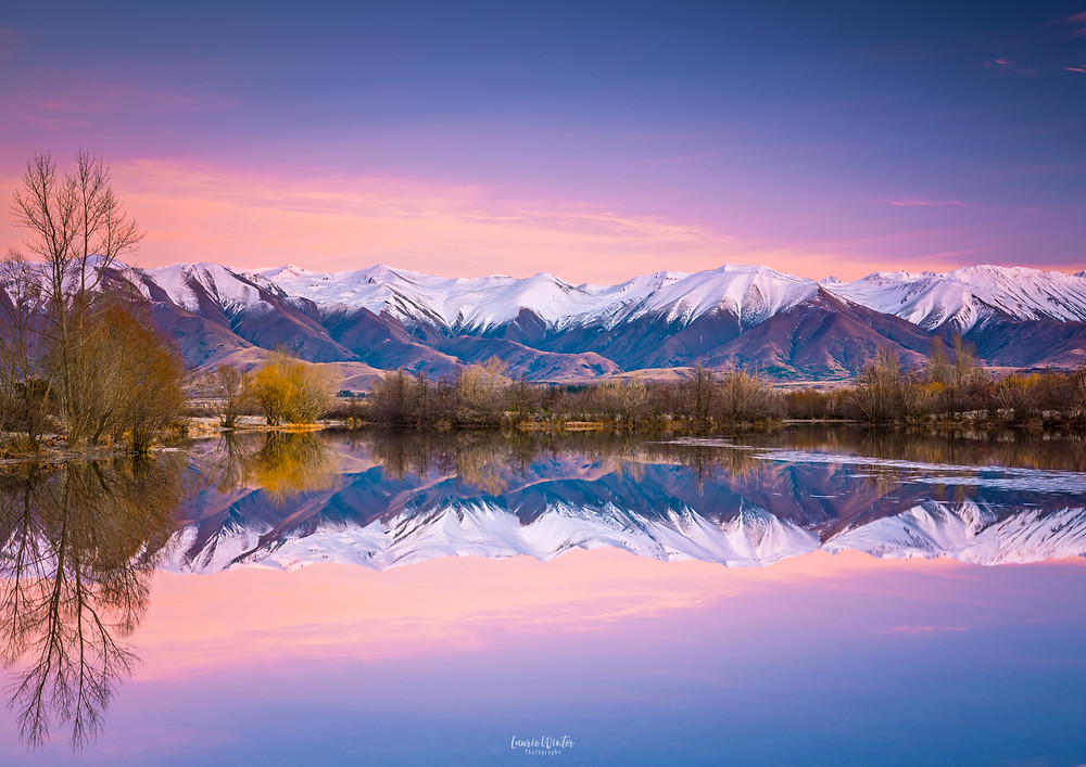 Pink sunrise at Lake Poaka in Twizel, Mackenzie