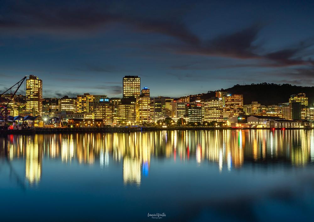 Wellington City Skyline at Night lights reflections