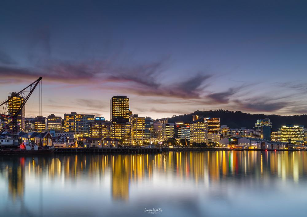 Wellington City Skyline Harbour Reflections New Zealand Sunset