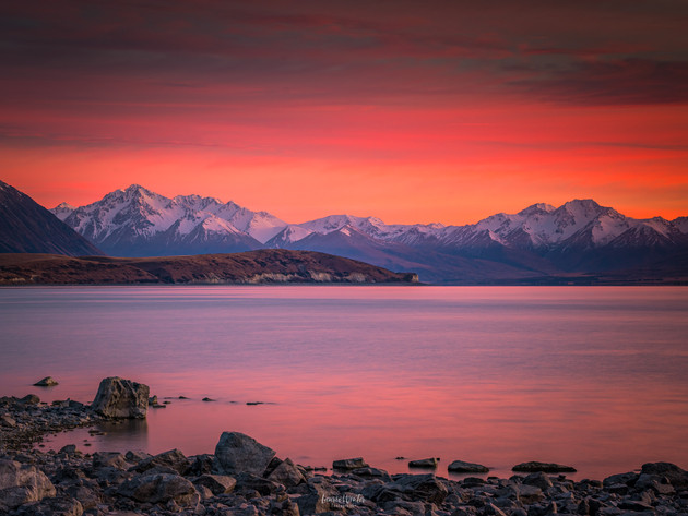 Burning Sunrise at Lake Tekapo