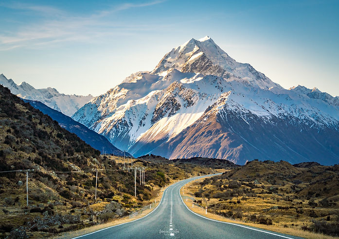 The road to the impressive Aoraki/Mt Cook, State Highway 80 is one of the most beautiful drives in NZ. New Zealand photography by Laurie Winter.