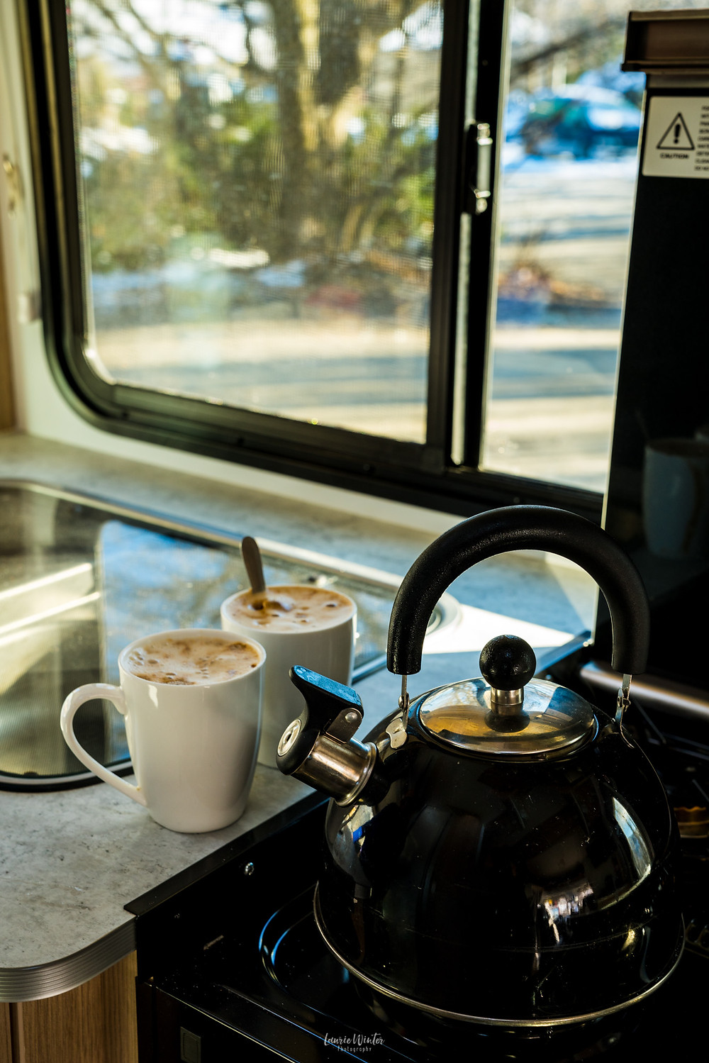 A whistling kettle in Britz campervan in St Bathans