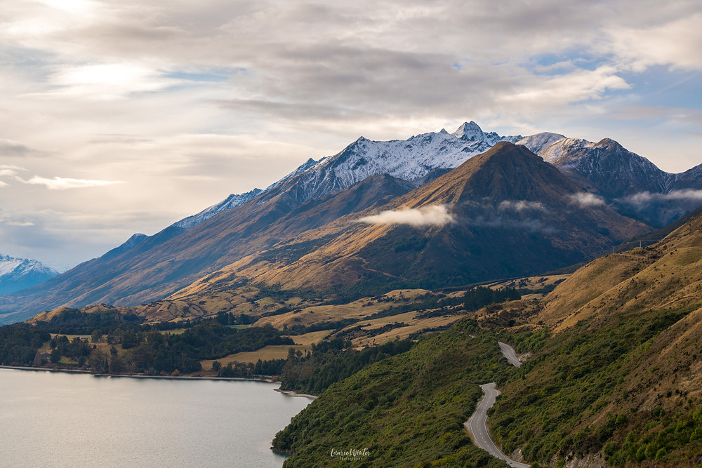 View over Lake Wakatipu and the road from Bennett's Bluff in Queenstown