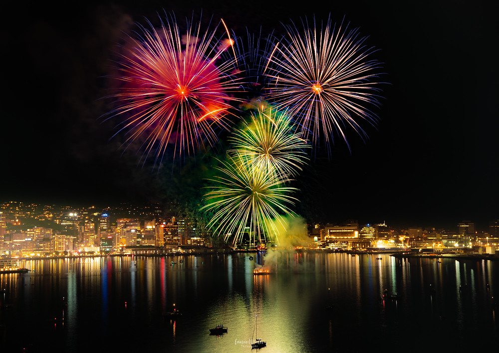 Firewroks explode over Wellington Harbour at Matariki