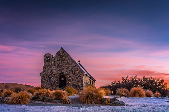 Sunrise at the Church of the Good Shepherd in Tekapo, on a cold winter morning.  Photography by Laurie Winter.