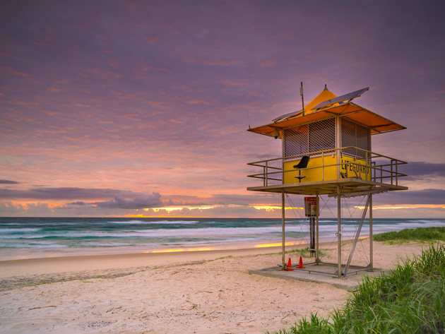 Sunrise at a Lifeguard Tower on the Spit, Gold Coast