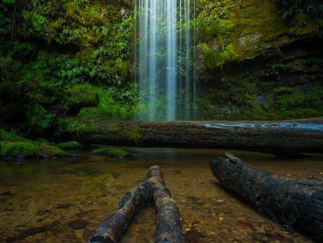 Delicate Waterfall in the Catlins Koropuku Falls