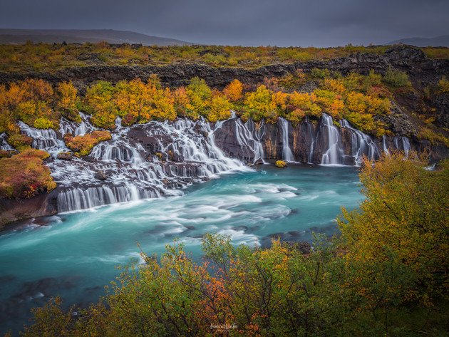 Hraunfossar Waterfall Iceland in Autumn