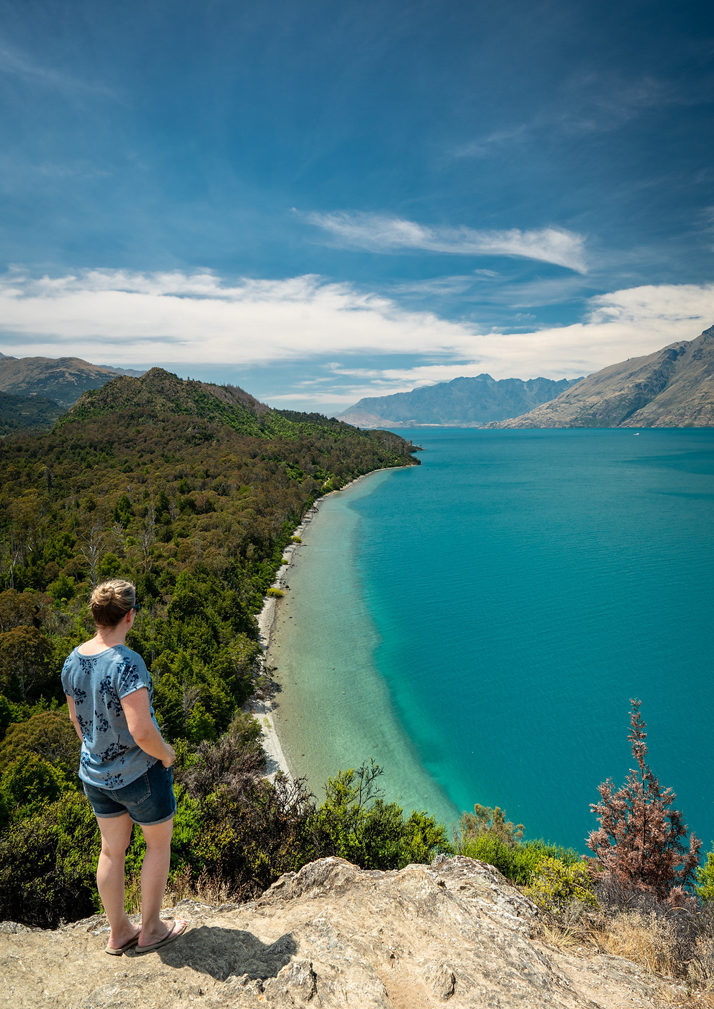 Looking out over Lake Wakatipu from Bobs Cove near Queenstown