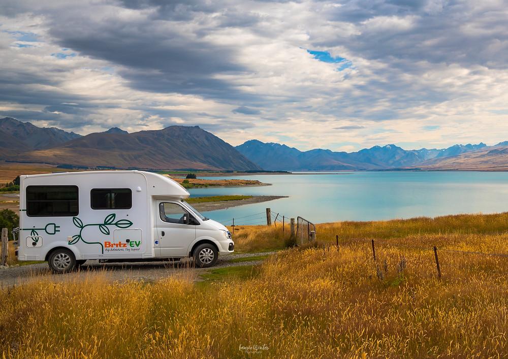 Britz Evolve with beautiful view of Lake Tekapo