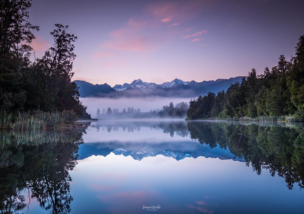 Perfect reflections Lake Matheson sunrise