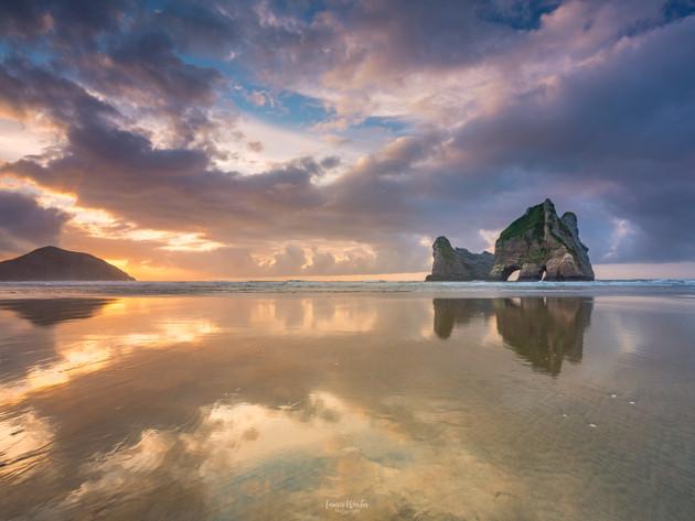 Golden Sunset Reflections Wharariki Beach