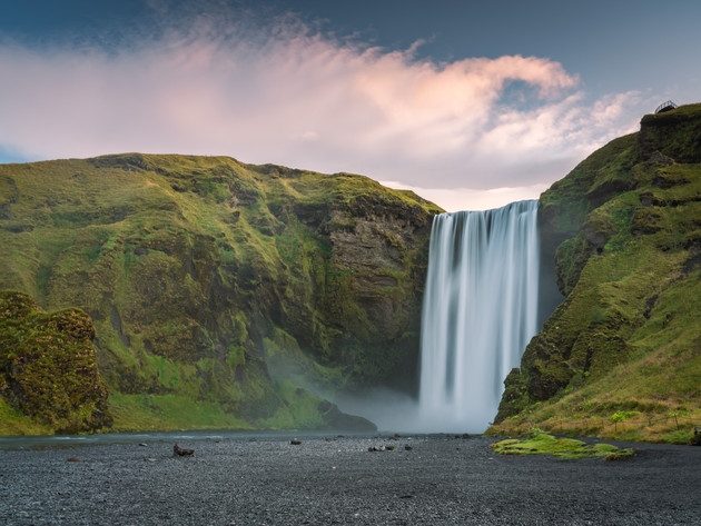 Sunrise at Skógafoss Waterfall Iceland