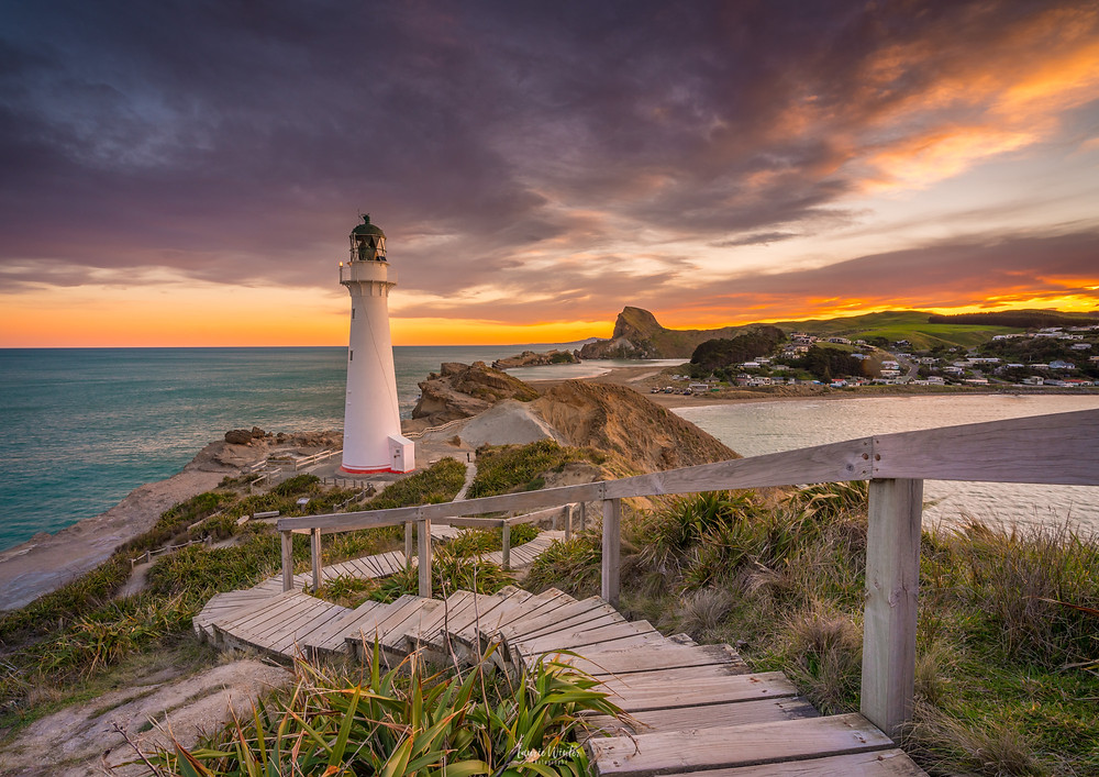 Sunset Castlepoint Lighthouse and Castle Rock and beach
