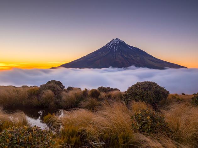 Beautiful View of Mt Taranaki at Sunrise