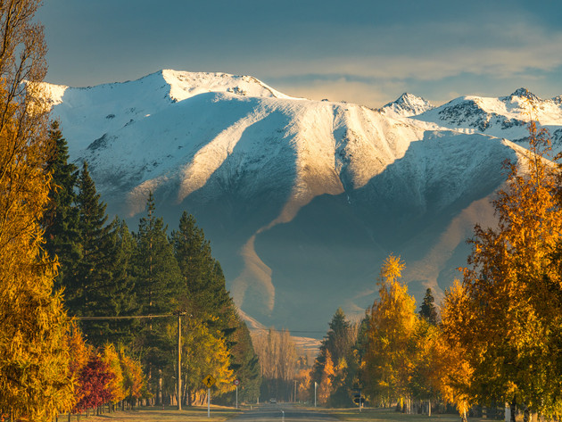 Road to the Mountains in Autumn Twizel