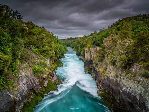 Downstream Huka Falls in Taupo