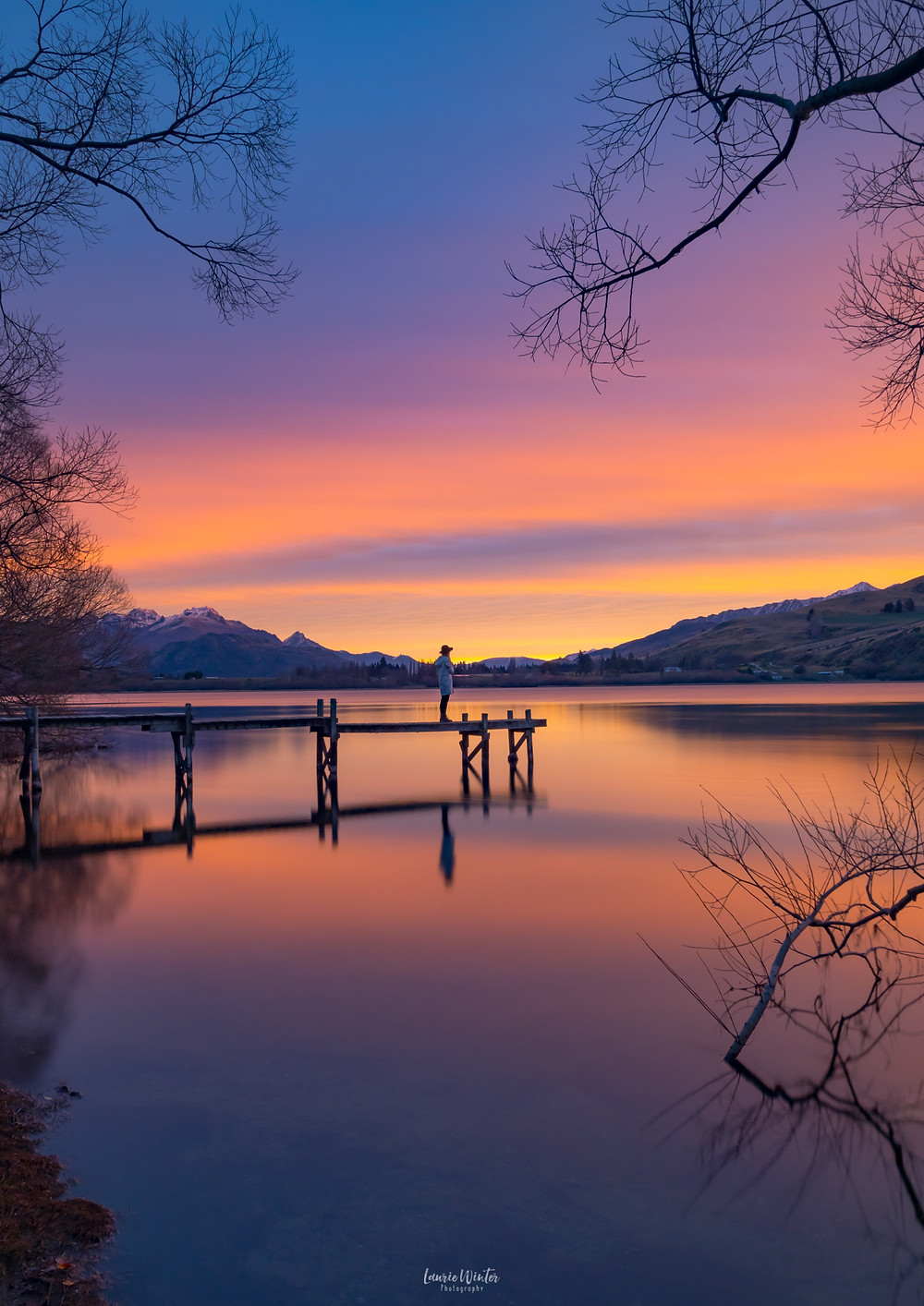 Lake Hayes Queenstown Sunset girl on a jetty
