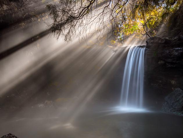 Thermal Waterfall Sun Rays Rotorua